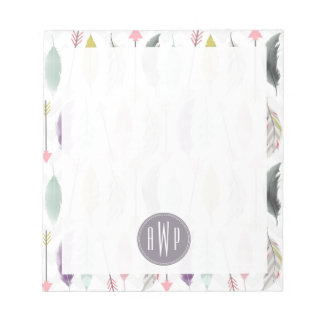 Feathers and Arrows Monogram Memo Note Pad