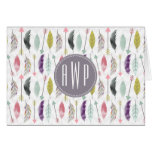 Feathers and Arrows Monogram Note Card