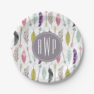 Feathers and Arrows Monogram Paper Plate