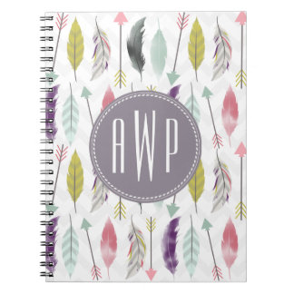 Feathers and Arrows Monogram Spiral Notebook