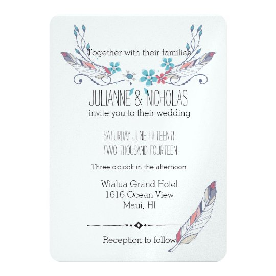 Feathers and Flowers Wedding Card