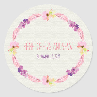 Feathers and Flowers Wedding Stickers