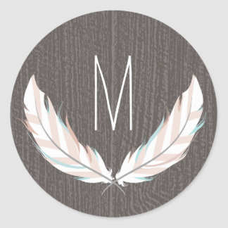 Feathers + Barn Wood Monogram Sticker