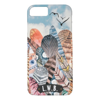 Feathers & Birds Abstract Monogram | Personalized iPhone 8/7 Case
