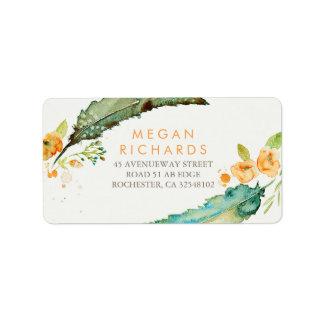 Feathers Bohemian Romantic Teal Wedding Address Label