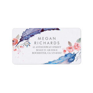 Feathers Bohemian Romantic Wedding Address Label