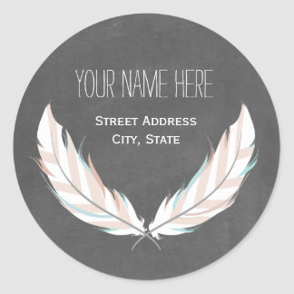 Feathers + Chalkboard Address Sticker