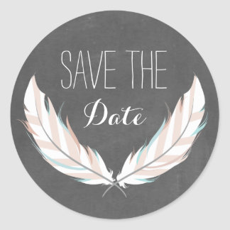 Feathers + Chalkboard Save The Date Sticker