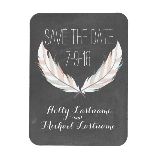 Feathers + Chalkboard Wedding Save The Date Magnet