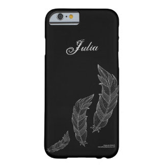 Feathers Fall Art Outline Grey Black Name Template Barely There iPhone 6 Case