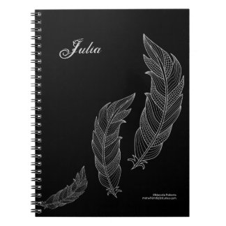 Feathers Fall Art Outline Grey Black Name Template Spiral Notebook