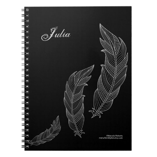 Feathers Fall Art Outline Grey Black Name Template