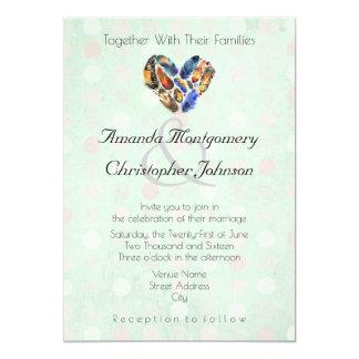 Feathers In A Heart Shape Mint Green Wedding 13 Cm X 18 Cm Invitation Card