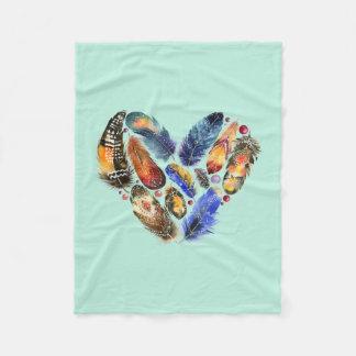 Feathers In A Heart Shape Watercolor Design Fleece Blanket
