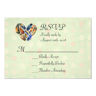 Feathers In A Heart Shape Watercolor Design RSVP Card
