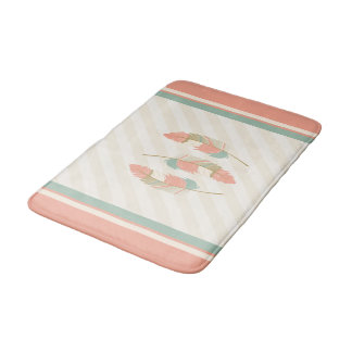 Feathers in Cream, Coral and Mint Green Bath Mat