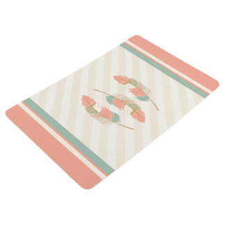 Feathers in Cream, Mint Green and Coral Floor Mat