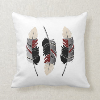 Feathers in Gray, Maroon Red and Cream Cushion