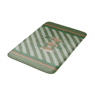 Feathers in Green and Nature Colors Bath Mat