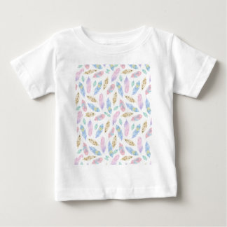 Feathers in pastel pink, blue, watercolour pattern baby T-Shirt