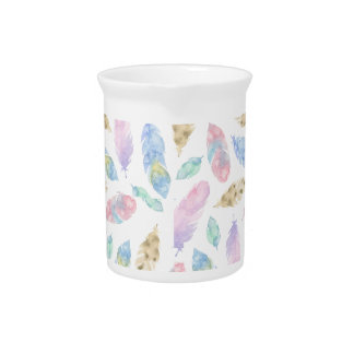 Feathers in pastel pink, blue, watercolour pattern pitcher