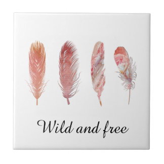 Feathers in pink and coral on white wild and free tile