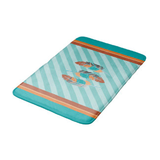 Feathers in Teal Stripes and Desert Colors Bath Mat