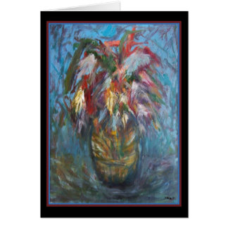 Feathers in Vase - Original Art Greeting Card