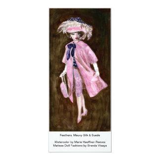 Feathers, Mauvy Silk & Suede, Matisse Doll Fashion 10 Cm X 24 Cm Invitation Card