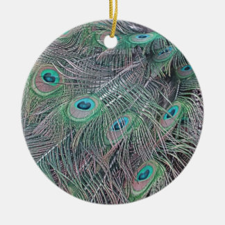 feathers of a peacock. christmas ornament