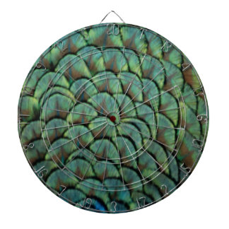 feathers of a peacock dartboard