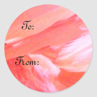 Feathers of Flamingo_ Round Sticker