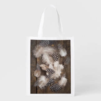 Feathers of guinea fowl reusable grocery bag