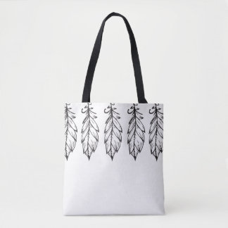 Feathers on top tote bag