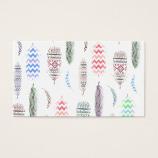 Feathers Pink Tribal Aztec Teal Chevron Pattern Business Card