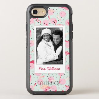 Feathers & Polka Dots | Add Your Photo & Name OtterBox Symmetry iPhone 8/7 Case