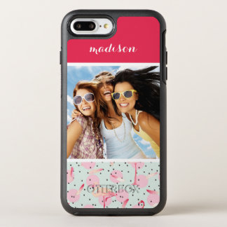 Feathers & Polka Dots | Add Your Photo & Name OtterBox Symmetry iPhone 8 Plus/7 Plus Case