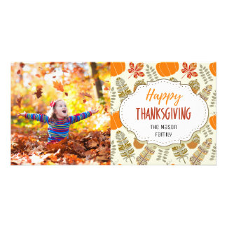Feathers Pumpkins Thanksgiving Family Photo Card