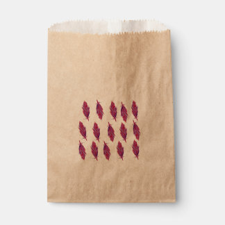 Feathers Watercolor  Red Pink  Favor Bag