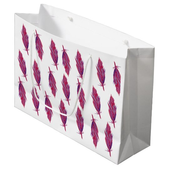 Feathers Watercolor Red Pink Gift Bag