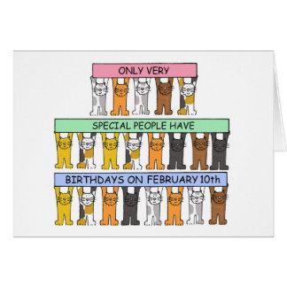 February 10th Birthday Cats Card