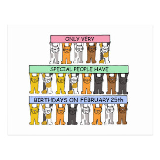 February 25th Birthday Cats Postcard