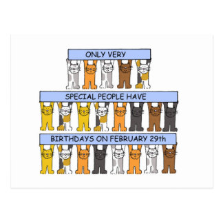 February 29th Birthdays Celebrated by Cats. Postcard