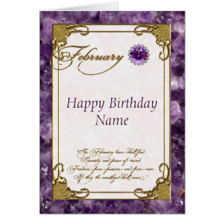 February Amethyst Birthstone Birthday Card