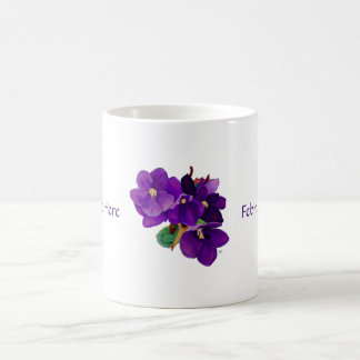 February: Amethyst Violets Personalized Mug