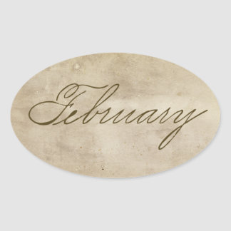 February Antique Oval Sticker