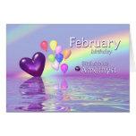 February Birthday Amethyst Heart Cards