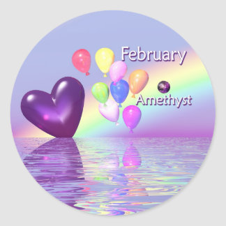 February Birthday Amethyst Heart Classic Round Sticker