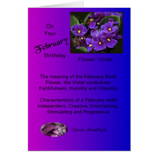 February Birthday Card - Violet and Amethyst