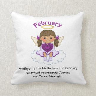 February Birthstone Angel Brunette Throw Cushion